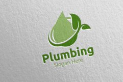 Eco Plumbing Logo with Water and Fix Home Concept 48 Product Image 3