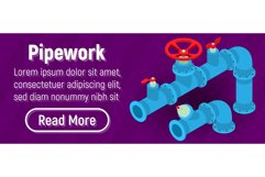 Pipework concept banner, comics isometric style Product Image 1