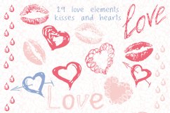 Love set. Hearts kisses doodle clipart, frames and pattern Product Image 3
