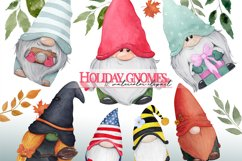 Watercolor gnome christmas png clipart. Holiday gnome Product Image 1