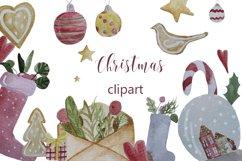 Christmas watercolor digital clipart, winter, lollipop Product Image 1