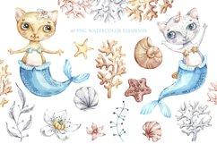 Watercolor Cat Mermaid clipart. Seashells marine clip art. Product Image 2