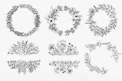 30 Hand drawn floral wreath. Simple line drawing. Product Image 3