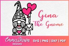 GINA THE GNOME SVG VALENTINES DAY MANDALA ZENTANGLE DESIGN Product Image 1