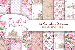 Taj Mahal Watercolor Digital Paper Pack Lotus Flowers Product Image 1
