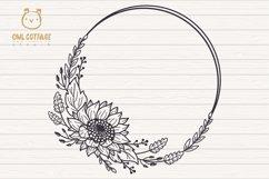 Sunflower Fall Wreath svg, floral monograms mini bundle Product Image 3