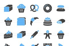 120 Sweets & Bakery Filled Blue & Black Icons Product Image 2