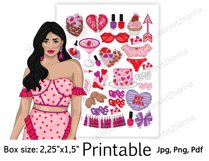 """Galentine's Day Printable Sticker Box Size 2,25""""x1,5"""" Product Image 3"""