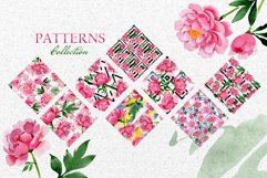 Bouquet of pink peony moment of joy watercolor png Product Image 5