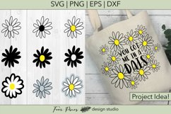 Daisy Flower Bundle - 9 Hand drawn flowers SVG png eps dxf Product Image 2