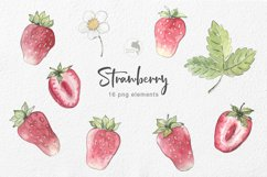 Strawberry watercolor clipart Product Image 2