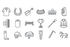 Horseback riding gear icon set, outline style Product Image 1