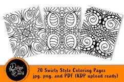 Swirly Style Coloring Pages - Printable PDF. PNG, JPG files Product Image 1