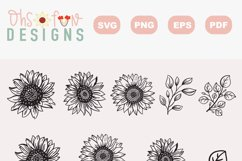 SVG sunflower handrawn   cricut silhouette craft  clipart Product Image 3