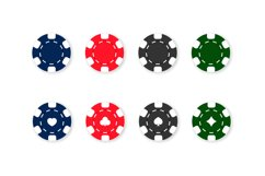 Casino chips icon set. Poker. Blue, red, black and green Product Image 1