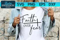 Faith Over Fear with Cross SVG Cut File | Christian SVG Product Image 1