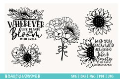 Sunflower and Wildflower SVG Bundle   Floral Line Art Product Image 2