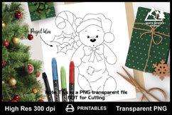 Teddy Bear in Christmas Stocking Printable Line Art Product Image 1