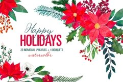 Christmas Floral Clipart Xmas New Year Bouquets PNG Images Product Image 1