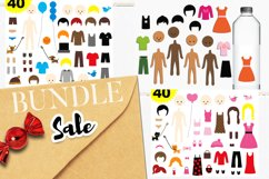 DIY paper dolls clip art illustrations bundle Product Image 1