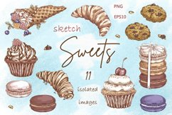 Sweets and Desserts. Sketch stickers. Part 2 Product Image 2