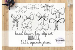Handdrawn bow clipart set - doodle ribbon clipart Product Image 2