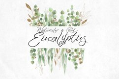 Watercolor and Gold Eucalyptus Clipart Product Image 2
