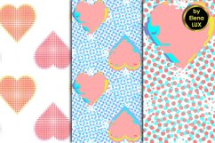 Glitch and halftone hearts seamless patterns Product Image 2