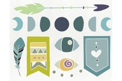 Hand drawn tribal elements - arrow feather crystal clipart Product Image 3