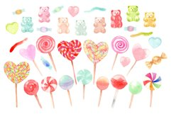 Watercolor candy. Valentine's Day. Patterns and Cliparts Product Image 2