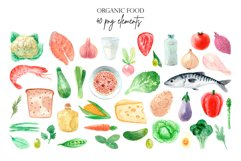 Organic Food. Watercolor Clipart Set Product Image 2