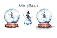 Christmas Snow Globe Snowman Sublimation Watercolor set Product Image 2