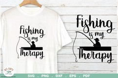 Fishing quote svg, fishing is my therapy SVG,EPS,PNG,DXF,PDF Product Image 1