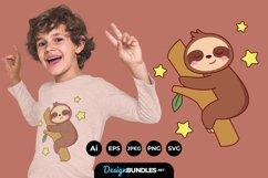 Cute Sloth Bear Cartoon Sleep on Tree for T-Shirt Design Product Image 1
