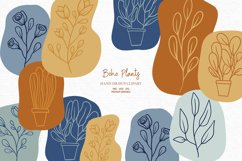 Hand-drawn boho clipart   Bohemian plants and flower clipart Product Image 1