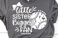 Baseball Sister Svg, Little Sister Biggest Fan Baseball Svg Product Image 1