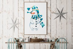Cute Xmas naive Snowman Christmas watercolor nursery clipart Product Image 6