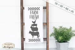 Farm Fresh Stacked Farm Animals Checked Border SVG DXF Files Product Image 1