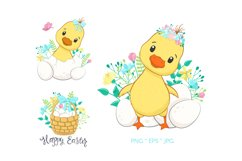 Easter Clipart. Cute ducklings with eggs and flowers. Product Image 1