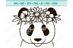 Panda SVG file, Panda with Flower Crown SVG, Png, Dxf, Eps Product Image 1