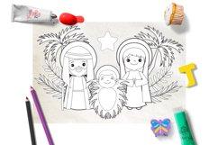 Nativity scene, Nativity Line Art, Coloring Clipart Product Image 2