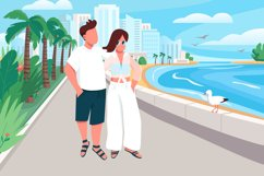 Couple in love walking along seafront vector illustration Product Image 1