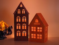 SVG  DIY 3D Lantern, Houses, Cutting File, Templates for Cricut Silhouette, Home Decor Paper Luminary (sv) Product Image 3