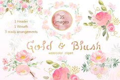 Gold & blush watercolor flowers Product Image 5