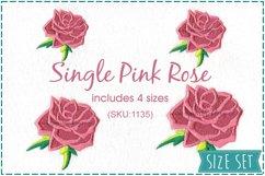 Single Rose Machine Embroidery Design Set of 4 Sizes Product Image 1
