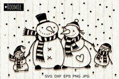 Christmas Snowman Family svg files, Christmas svg, Winter Product Image 1