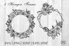 Hexagon Succulent frame Svg. Cactus polygonal floral wreaths Product Image 1