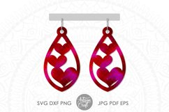 Heart earrings SVG, Valentines earrings, SVG cut files Product Image 6