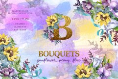 Bouquets peony, flax Watercolor png Product Image 1