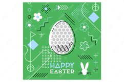 Easter sports greeting card. Memphis design. Golf. Product Image 1